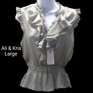 Ali & Kris Ruffled Silver Blouse Sz LG NWT